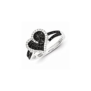 Sterling Silver w/Rhodium Plated Black & White Diamond Heart Ring, Size 8, (0.5 ctw, I1-I2 Clarity)