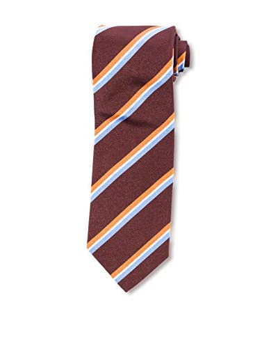 E. Marinella Men's Diagonal Striped Tie, Brown