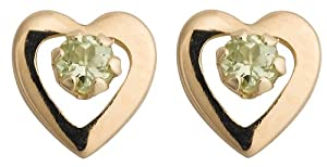 14k Yellow Gold and Peridot Children's Heart Earrings