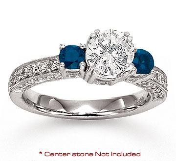 Click to buy Sapphire Diamond Engagement Ring: 14K White Gold Side Stone Sapphire Diamond Engagement Ring from Amazon!
