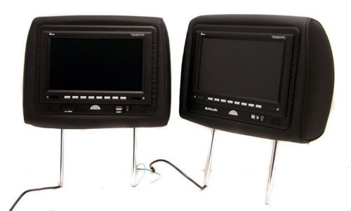 Pair of New Tview T7929dvpl-black Headrests