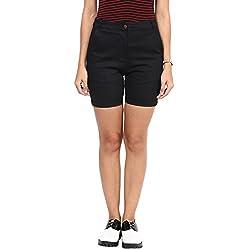 Hypernation Black Color Cotton Shorts For Women
