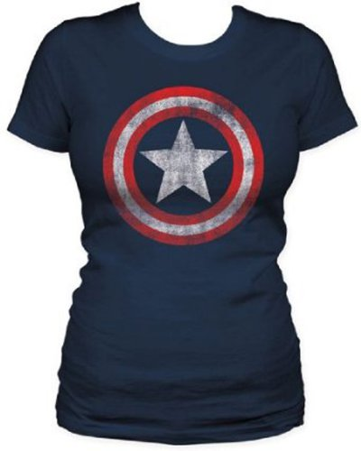 Captain America - Distressed Shield Girly Fit T-Shirt