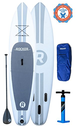 iRocker Triple Layer Military Grade PVC Inflatable Paddle Board with Backpack and Travel Paddle, 11-Feet X 6-Inch Thick, White (Roof Rack Pads White compare prices)