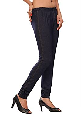Womens Jegging Churidar Stretchable Denim Look Long Leggings India Clothing