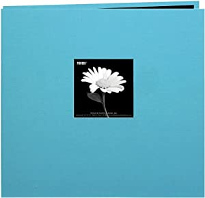 Pioneer 12-Inch by 12-Inch Book Cloth Cover Postbound Album with Window, Turquoise Blue