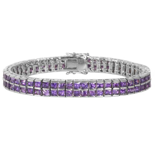Willow Xpress Double Row Princess Cut Tanzanite CZ Silvertone Tennis Bracelet