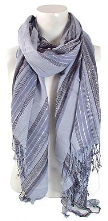 BB Accessories Blue-Grey Vertical Multi-Width Stripes Scarf with Silver Metallic Thread