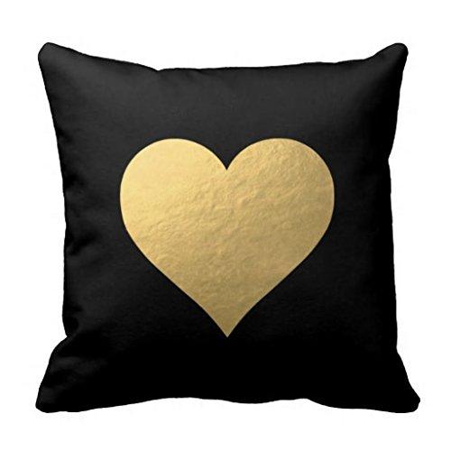 "Maliyna Black Gold Heart Decorative Throw Pillow Case Cushion Cover 18"" X 18"""