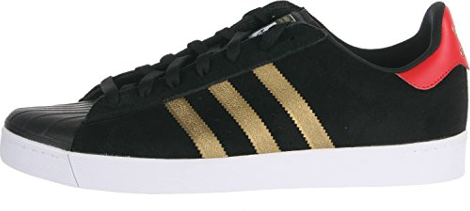 low priced 7e693 bb8a6 ... Adidas Superstar Vulc ADV (Core Black Metallic Gold Collegiate Red) Men s  Skate ...