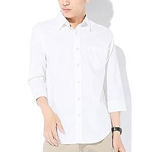 (ベストマート)BestMart 美シルエット ストレッチ 綿麻 オックスフォード シャツ メンズ 7分袖 長袖 きれいめ 605171