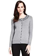 M&S Collection Jewel Collar Cardigan