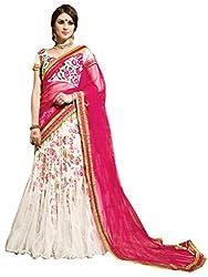 Inddus Women White & Pink Printed & Embroidered Unstitched Lehenga Choli