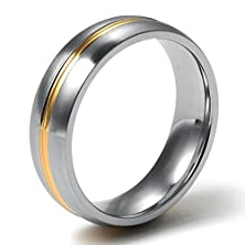buy Stainless Steel Men'S Rings Silver Bands Middle Gold Stripe Polished Width 6Mm Size 7 - Adisaer