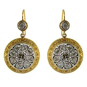 14K GOLD CUT DIAMOND SILVER EARRING VINTAGE LOOK JEWELRY