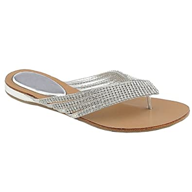 White Sandals: Flat White Sandals With Rhinestones