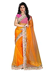 OMKAR CLUB Yellow And Pink Color Sprey Nylon Net Saree