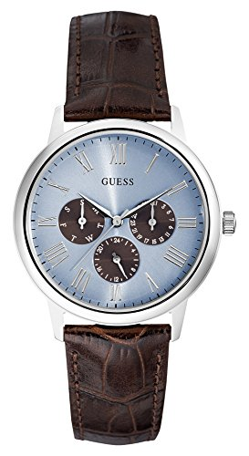 guess mens watches uk watches store guess wafer light blue dial brown leather strap gents watch w0496g2