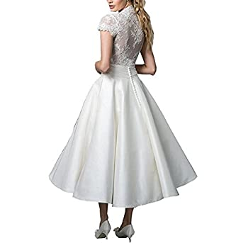 Fashionbride Women's Lace Tea Length A Line Vintage Wedding Dress Bridal Gown F364