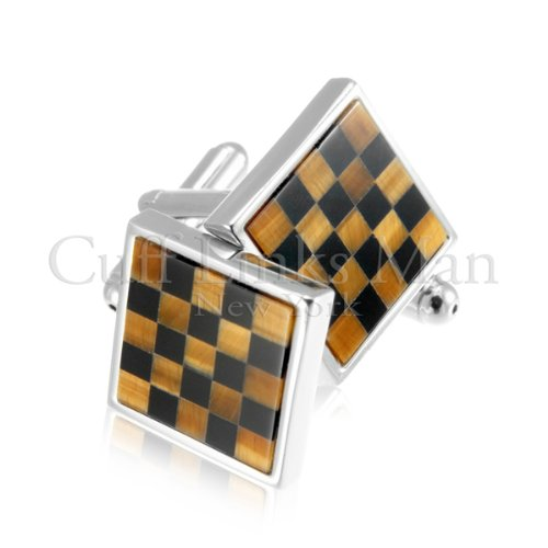 Chekered Board Agate Cuff Links-CL-0042