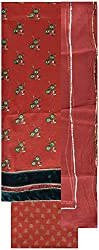 Gunjan Women's Cotton Silk Unstitched Salwar Suit (Rust)