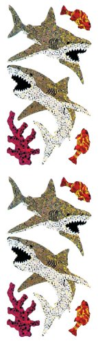 Jillson Roberts Prismatic Stickers, Great White Shark, 12-Sheet Count (S7125)