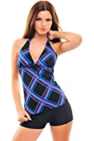 Trendiger Push Up Tankini mit Hotpants/Bikinihose, Badeanzug Figure Optimizer Flacher Bauch verschiedene Farben f2512