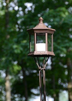 Starlite Garden and Patio Torche SLTTCG Solar Lantern Tiki Torch, Brown/Clear Glass