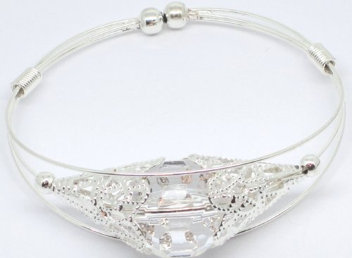 White Bead Silver Coloured Expanding Metal Alloy Bangle