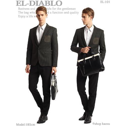 [エルディアブロ] EL-DIABLO ビジネスバッグ メンズ 2WAY 薄マチカジュアルバッグ ブラック×ブラック 【EL-101】 [ウェア&シューズ]