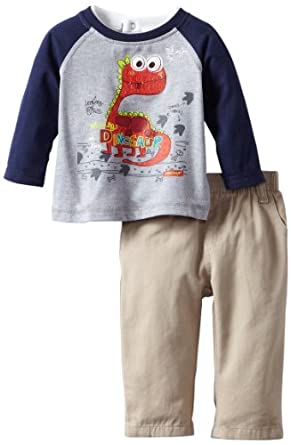 (3 折)Kids Headquarters Top Pants Dinosaur Gray男婴长袖+长裤$9.71,