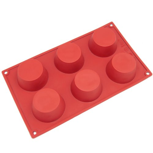 Freshware 6-Cavity Cheesecake, Pudding And Muffin Silicone Mold And Baking Pan