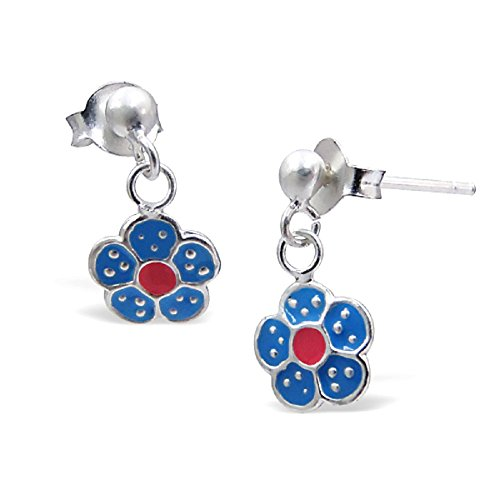925 Sterling Silver Dangling Blue & Pink Flower Stud Earrings 5300 (Sterling 5300 Parts compare prices)