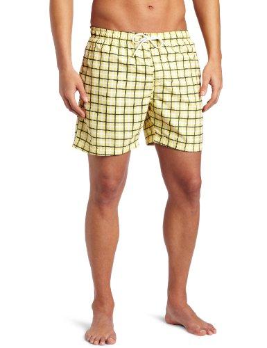 Bottoms Out Men's Plaid Adjustable Waistline Swim Short
