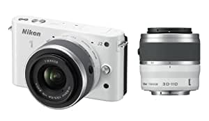 Nikon 1 J2 Kit compact hybride 10,1 Mpix + Objectif 1 Nikkor VR 10-30 mm f/3.5-5.6 + 1 Nikkor VR 30-110 mm f/3.8-5.6 Blanc laqué