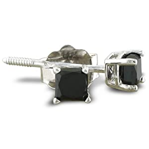 1/2ct Princess Cut Black Diamond Stud Earrings 14k White Gold