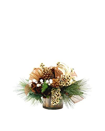 Creative Displays Speedwell And Bottle Brush Pine Birch Stick Pot, Crème/Gold/Brown/Green