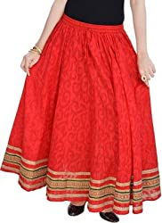 Ceil Women's Skirt (SK 1005_Red_Free Size)