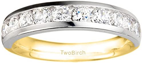Silver Classic Channel Set Wedding Anniversary Band with Diamonds 02 ct twt