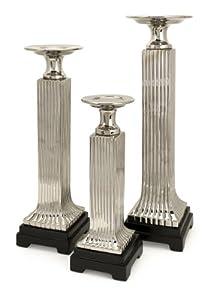"16.75-22-25""h Tall Ceramic Pillar Column Shiny Candle Holder Stand - Set of 3"