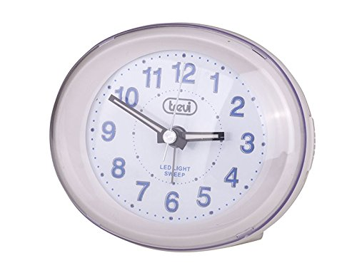Trevi SL3052 Alta Quartz Alarm Clock with LED Backlight and Silent Sweep (White)