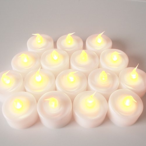 Set Of 25 Super Bright Battery Operated Flickering Amber Led Tea Lights - Batteries Included