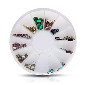 SODIAL(R) 3D Colorful Rhinestone Mix Type Nail Art Decoration Wheel DIY Sticker Manicure
