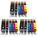 3x Sets of 5 high capacity ink cartridges (15x Cartridges) inc PGI525 (PGI-525PGBK) Black & CLI526 (CLI-526BK, CLI-526C, CLI-526M, CLI-526Y) Black, Cyan, Magenta, Yellow Canon Compatible Ink Cartridges for PIXMA iP4850 iP4950 iX6250 iX6550 MG5150 MG5250