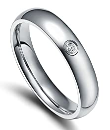 buy Mens Womens Stainless Steel Rings Comfort Fit Classic Wedding Bands Silver 4Mm Cz Size 5 - Adisaer