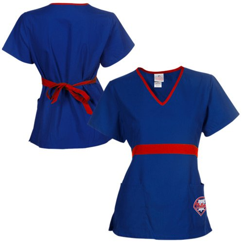 MLB Philadelphia Phillies Womens MLB Solid Wrap Scrub Top with Pockets - Royal Blue (Small) at Amazon.com