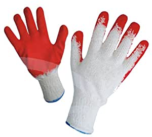 G & F 3106-10 String Knit Palm Latex Dipped Gloves, 10-Pairs Per Pack, Red, Large