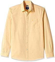 Wrangler Men's Casual Shirt (8907222642570_W148199454AZ_Medium_Lt Yellow)