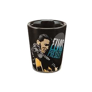 Vandor 47018 Elvis Presley Ceramic Shot Glass, Black