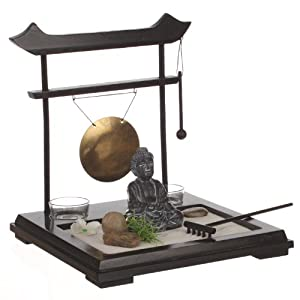 zen garden set buddha on wooden tray with gong 2 candleholders flower and plant sand and. Black Bedroom Furniture Sets. Home Design Ideas